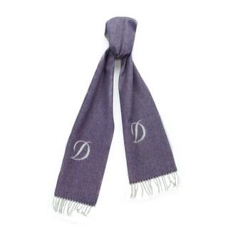 St. Dupont Paris 100WS-L VA Purple/Ivory 100% Cashmere Classic Mens' Scarf