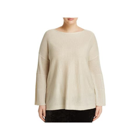 Vince Camuto Womens Plus Pullover Sweater Ribbed Metallic