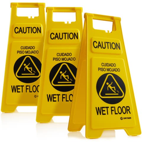 """3 Pack - 26"""" 2-Sided Yellow Caution Wet Floor Signs-ENG/SPN- Dryser"""