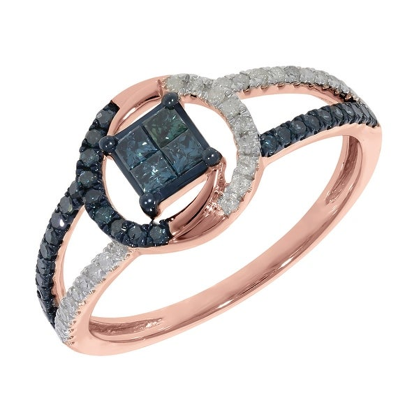 Prism Jewel 0.50ct Blue Color Princess and Round Diamond With Diamond Engagement Ring