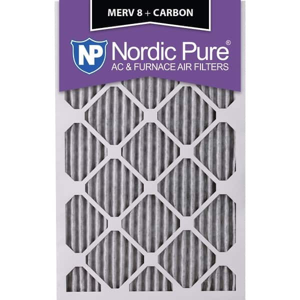 Nordic Pure 14x24x1 MERV 8 Pleated Plus Carbon AC Furnace Air Filters 6 Pack 14x24x1PM8 C 6 Piece