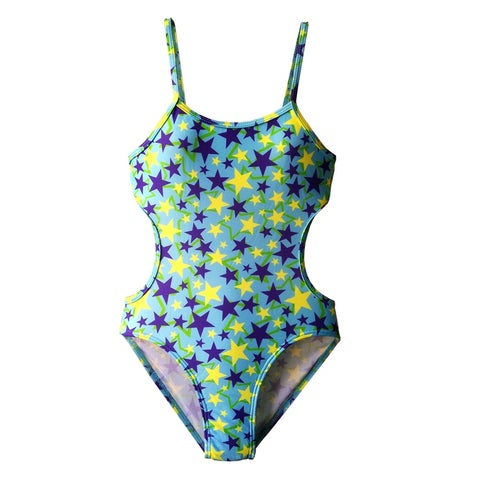 Girls One Piece Monokini in Blue, Yellow, and Greens Stars on Blue