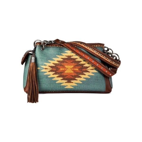 Blazin Roxx Western Handbag Womens Satchel Zapotec Brown Turq N7532102 - brown turquoise - One size