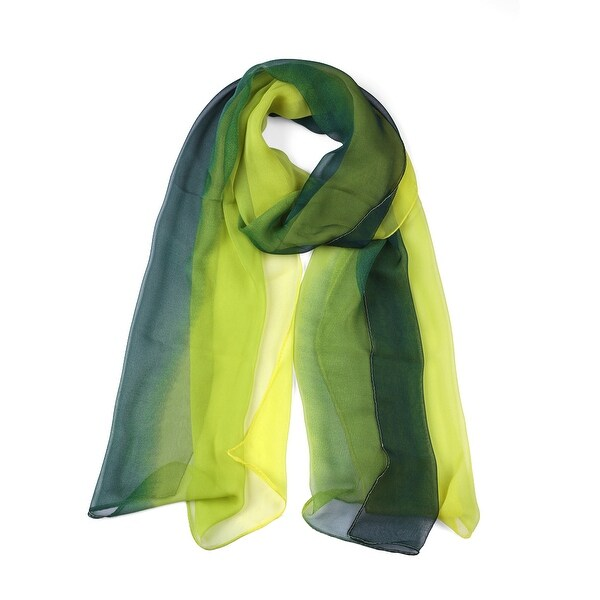 Long Chiffon Lightweight Gradient Color Scarf For Women Green-2