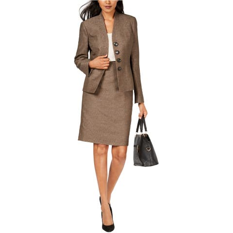 Le Suit Womens Collarless Four Button Blazer Jacket, Brown, 4