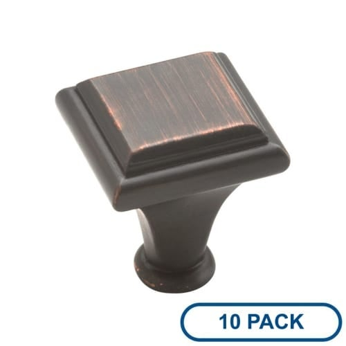 Amerock BP26131-10PACK Manor 1 Inch Long Square Cabinet Knob - Package of 10