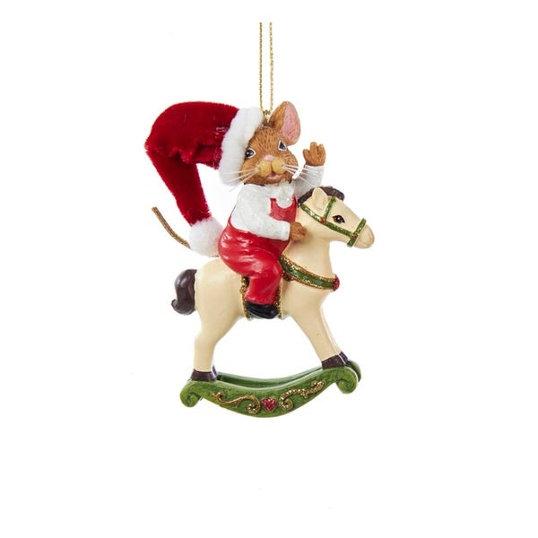 "3.75"" Mouseville Festive Boy Mouse on Rocking Horse Christmas Ornament - RED"