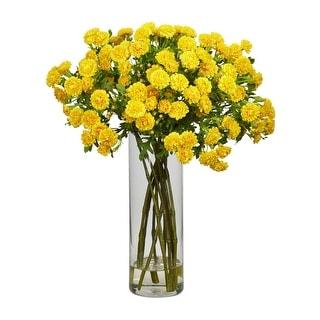 Nearly Natural Japanese Silk Flower Arrangement - Yellow