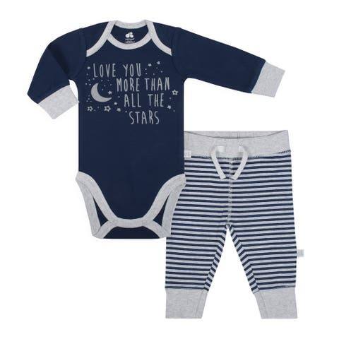 Baby Boy Just Born 2-piece Outer Space Bodysuit and Pants Set - Blue