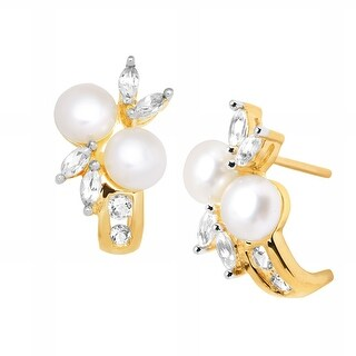 Freshwater Pearl & 1/2 ct Created White Sapphire 'J' Earrings in 10K Gold