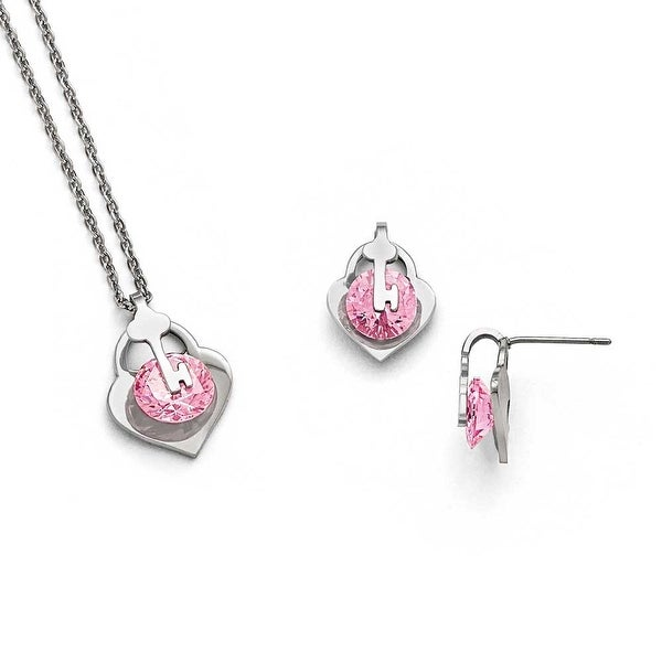 Chisel Stainless Steel Polished with Pink CZ Necklace & Earring Set
