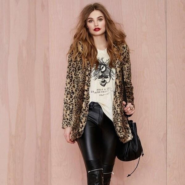 Women Faux Fur Coat Leopard Sexy Wild Winter Loaded With Warm Fashion Coat