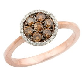 Brand New 0.50 Carat Natural Brown & White Diamond Cluster Ring, 14k Rose Gold