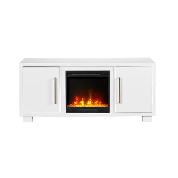 "C3 C3P18C9-2030 Shelby 56"" Wide Media Console with 4777 BTU / 1400W Electric Fireplace and Soft Close Storage Hinges - White"