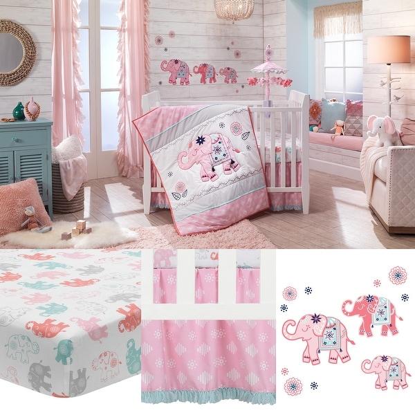 Lambs /& Ivy Boho Elephant Pink//Gray//White Nursery 5-Piece Baby Crib Bedding Set