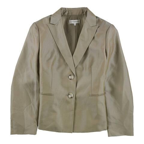Evan-Picone Womens Herringbone Two Button Blazer Jacket, Brown, 18