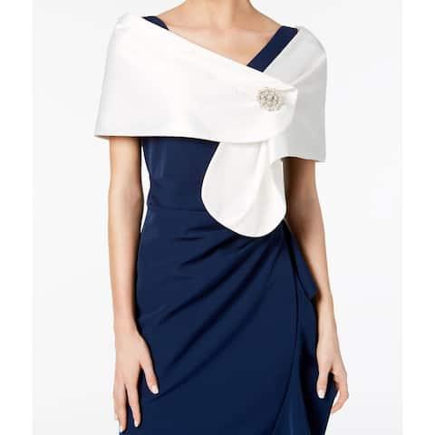 Adrianna Papell White Womens Size Medium M Broch Satin Shawl/Wrap