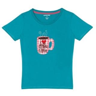 Women's Pajama Top - I Love Coffee A Latte Blue Short Sleeve Sleep Tee