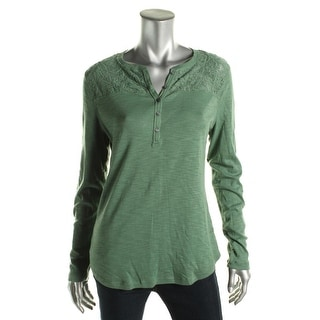 American Living Womens Cotton Lace Inset Henley Top