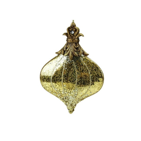 "6"" Gold Mercury Glass and Glitter Onion Christmas Ornament"
