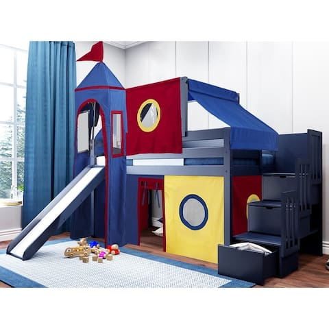JACKPOT Prince & Princess Low Loft Bed, Stairs & Slide, Tent & Tower