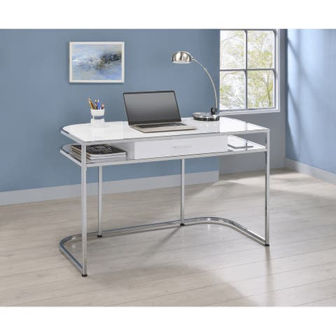 Brighton White High Gloss and Chrome 1-drawer Writing Desk