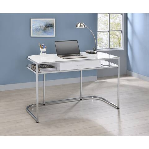 Ember White High Gloss and Chrome 1-drawer Writing Desk