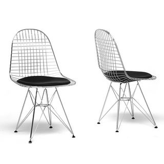 Avery Mid-Century Modern Wire Chair with Black Cushion - 2 Chairs