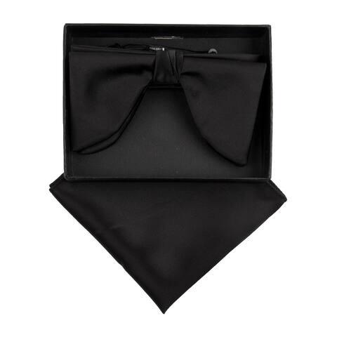 Men's Edwardian Wedding PreTied Tuxedo Bow Tie Adjustable Length W/Hanky - One Size
