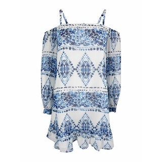 BCBGeneration Women's Printed Cold-Shoulder Dress - White/Blue