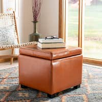 Deals on Safavieh Broadway Saddle Leather Storage Ottoman