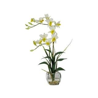 Nearly Natural Dendrobium with Glass Vase Silk Flower Arrangement