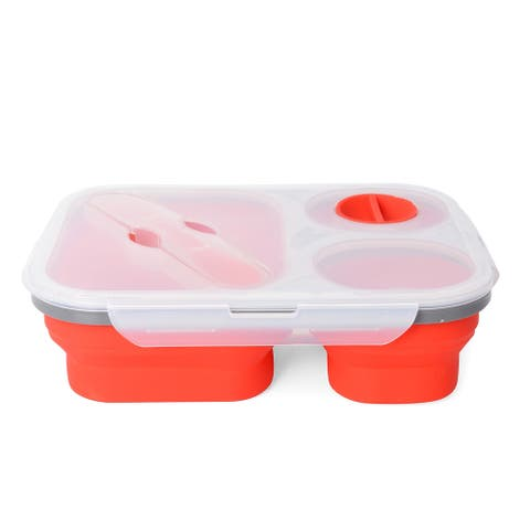 Red Silicon Collapsible Lunch Box with Spoon and Condiment Lid - Medium