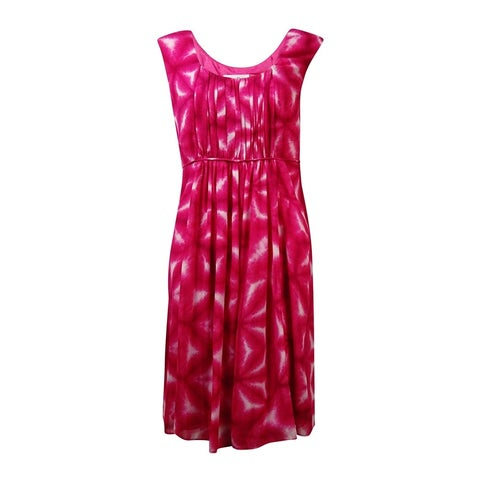 Calvin Klein Women's Pleated Tie-Dyed Crepe Dress