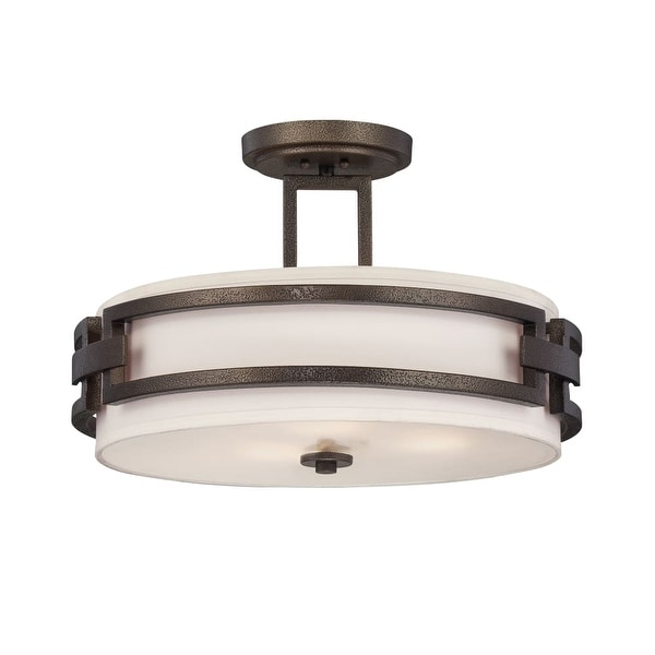 Designers Fountain 83811 3-Light Semi-Flush Mount Ceiling Fixture from the Del Ray Collection - flemish bronze