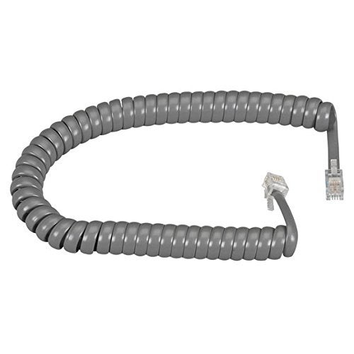 "Black Box Ej302-0012 12"" Coiled Telephone Handset Cord - Dark Gray"