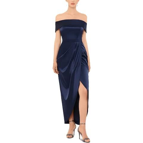Xscape Womens Evening Dress Satin Off-The-Shoulder - Navy