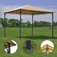 Costway Outdoor 10'x10' Square Gazebo Canopy Tent Shelter Awning Garden Patio Tan