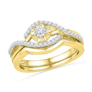 10k Yellow Gold Womens Natural Round Diamond Solitaire Wedding Bridal Engagement Ring Set 1/4 Cttw - White