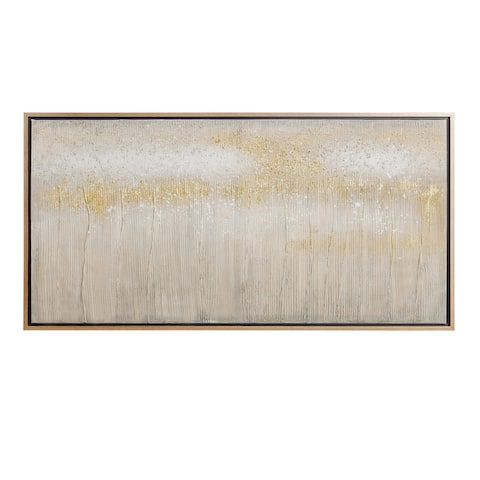 Strick & Bolton Hand-painted Gold/ Grey Abstract Wall Art