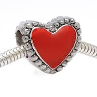 Silver Tone With Red Enamel Heart Shaped - European Style Large Hole Bead (1)