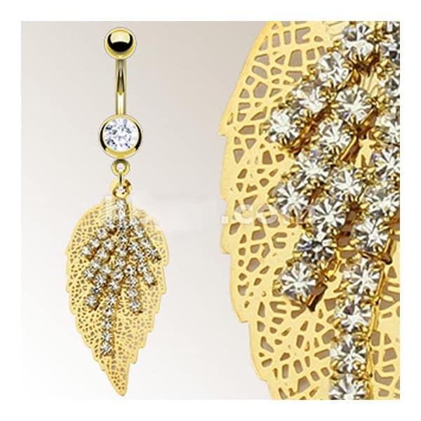 Gold Plated Stainless Steel Navel Belly Button Ring with Multi Gem Stems on a Golden Leaf