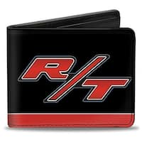 Dodge Challenger R T Emblem Stripe Black Blue White Red Bi Fold Wallet - One Size Fits most
