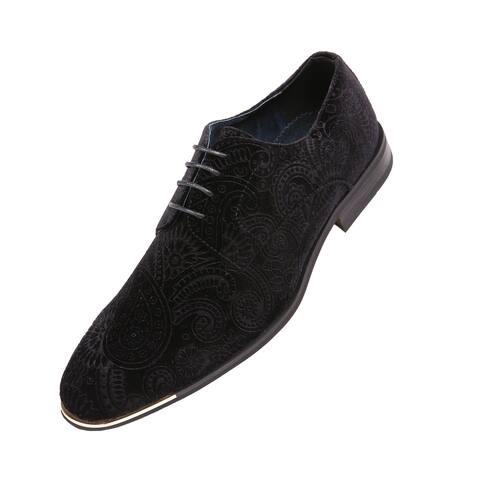 Amali Mens Paisley Velvet Tuxedo Oxford, Formal Fashion Dress Shoe