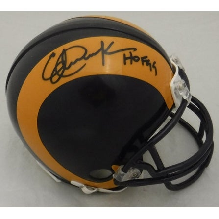 Eric Dickerson Autographed Los Angeles Rams Riddell Mini Helmet HOF JSA