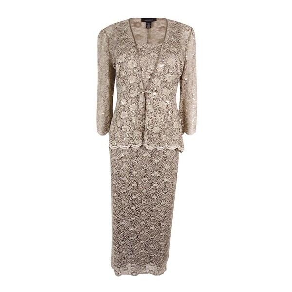 a3b5c625247 R amp M Richards Womens Plus Size 2PC Scalloped Sequined Lace Dress Set  (14W