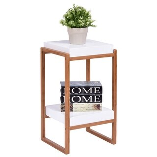 Gymax Side End Table Accent Table Storage Night Stand Display Shelf White