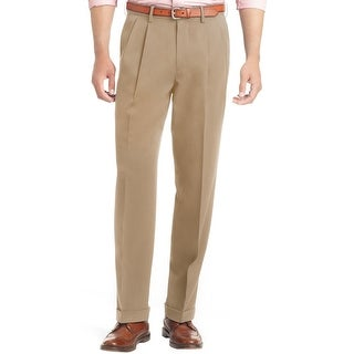 Izod Big and Tall The Traveler Stretch Double Pleated Dress Pants Dark Cedarwood