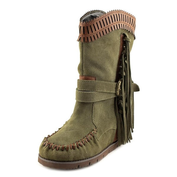 Mojo Moxy Nomad Mid Calf Women Round Toe Suede Green Mid Calf Boot