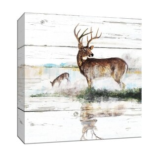 """PTM Images 9-147520  PTM Canvas Collection 12"""" x 12"""" - """"Rustic Misty Deer"""" Giclee Deer Art Print on Canvas"""